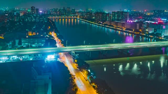 广州_新光大桥_大石桥夜景车流延时