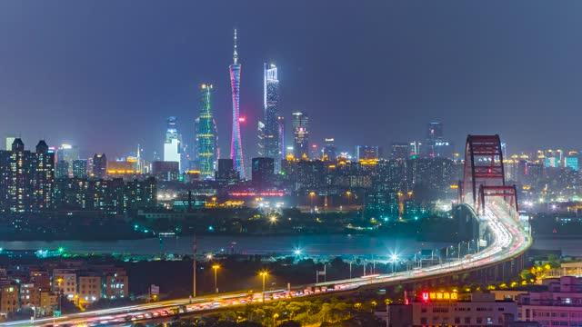 广州_新光大桥_珠江新城夜景延时