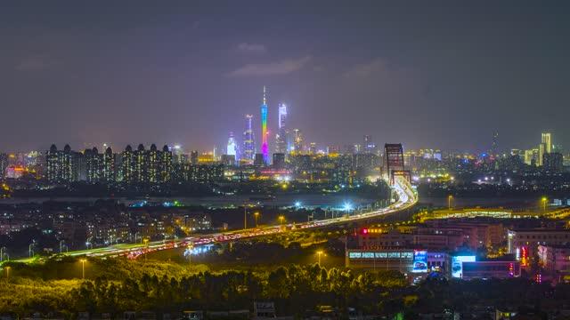 广州_新光大桥_珠江新城全景夜景延时