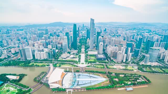 广州_海心沙_延时俯拍珠江新城建筑群