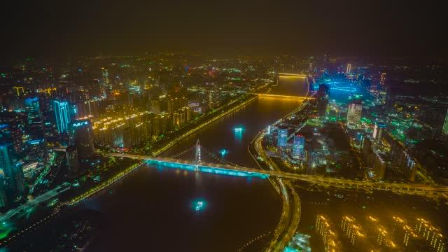 广州_珠江_猎德大桥_华南大桥方向_夜景延时