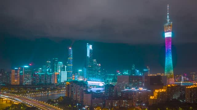 广州_广州塔_珠江新城夜景延时