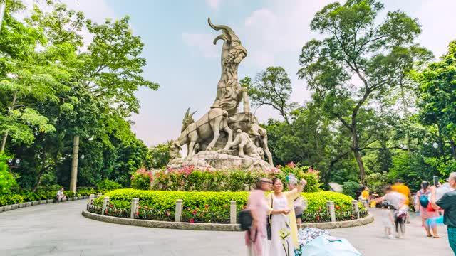 广州_越秀公园_五羊雕像_地标建筑大范围延时