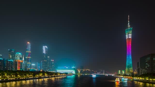 广州_广州塔_珠江新城_海心沙_珠江游船夜景延时