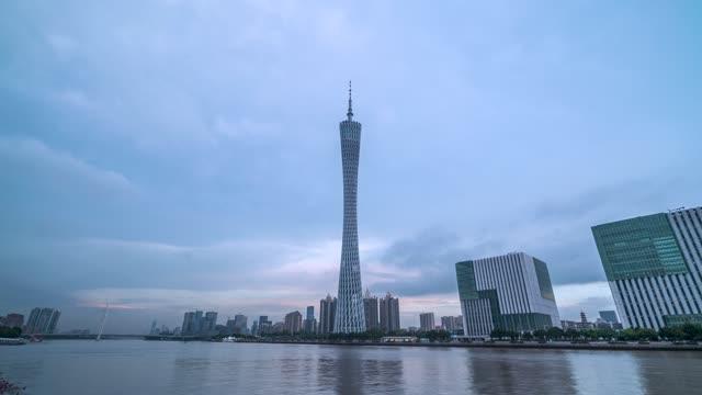 广州_广州塔_珠江_日转夜天空延时摄像