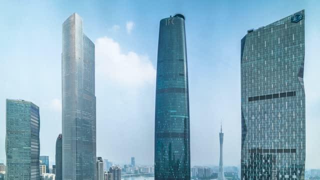 广州_广州塔_东塔西塔_珠江新城高楼_广州地标建筑延时摄影