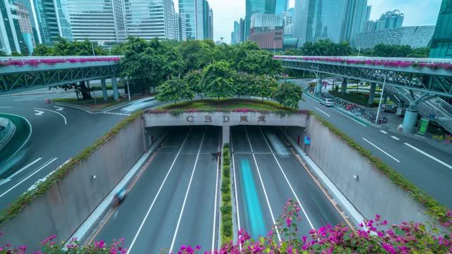 广州_珠江新城CBD_隧道车流延时