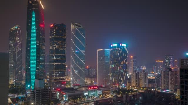 广州_维家思广场_珠江新城高楼夜景_延时
