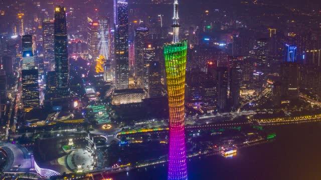 广州_广州塔_珠江新城夜景航拍延时