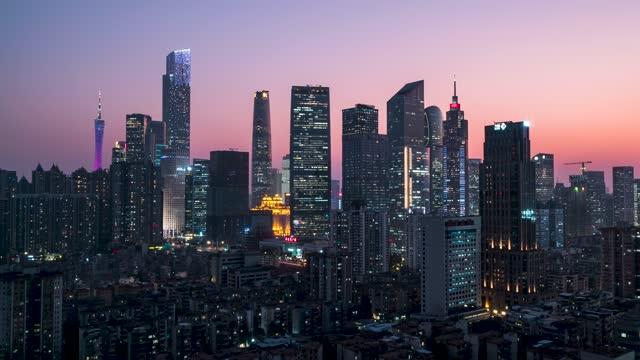 广州珠江新城日转夜