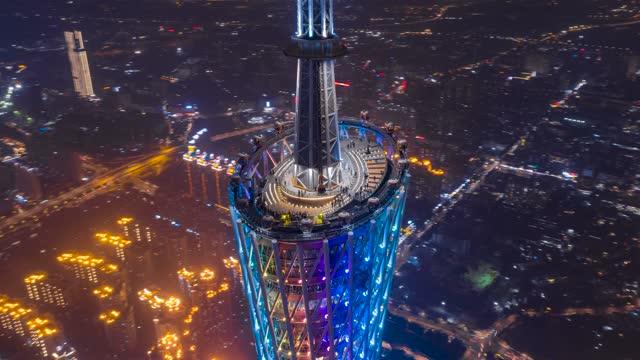 广州_广州塔塔顶_360度夜景航拍延时