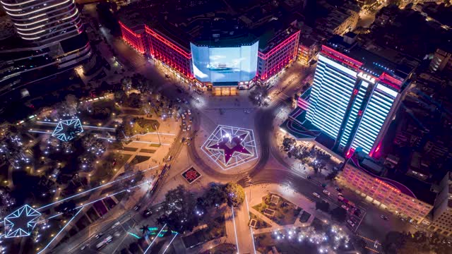 广州_海珠广场_环绕人民英雄雕像夜景延时航拍
