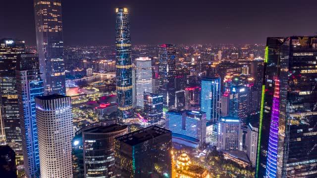 广州_珠江新城夜景_CBD地标建筑航拍延时