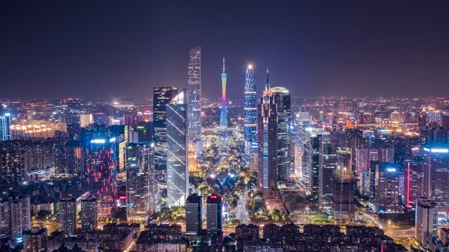 广州_珠江新城CBD中轴夜景_航拍延时