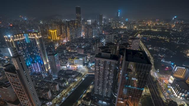 深圳_广深铁路_龙园创展_布吉河_城市夜景延时