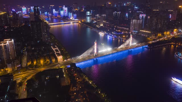 广州_海印桥_城市夜景航拍延时