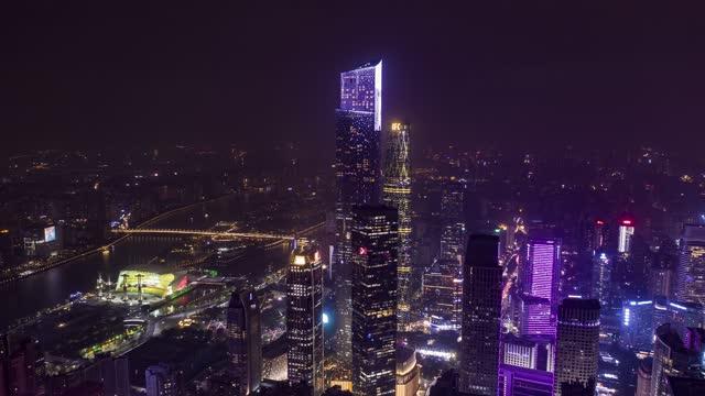 广州_西塔_珠江新城夜景_CBD地标建筑群航拍延时