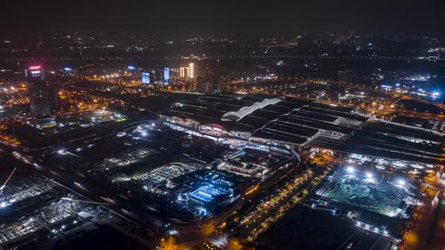 广州_广州南站_全景环绕夜景延时航拍