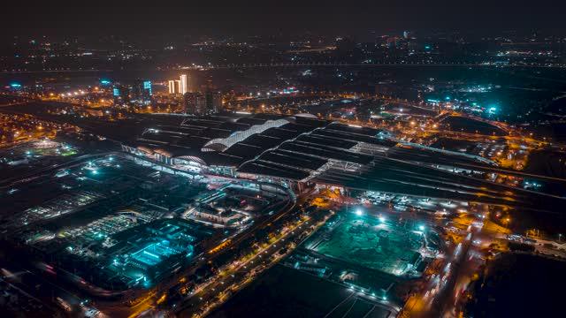 广州_广州南站_夜景延时航拍