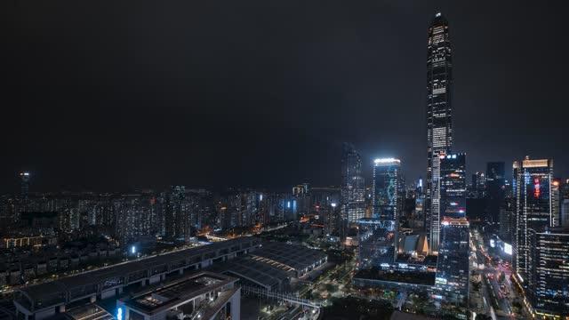 深圳_平安金融中心大厦_CBD夜景延时
