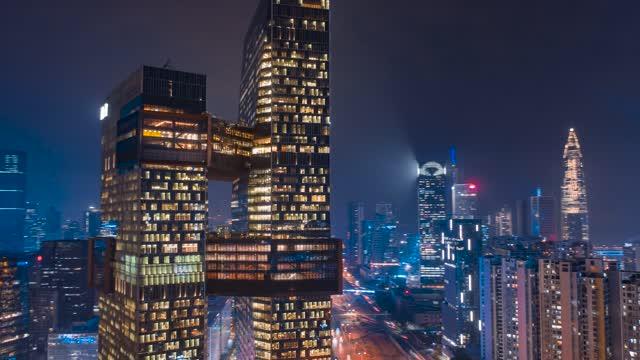 深圳_腾讯滨海大厦夜景_延时航拍