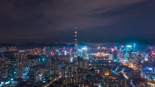 深圳_福田CBD_平安大厦_城市夜景航拍延时