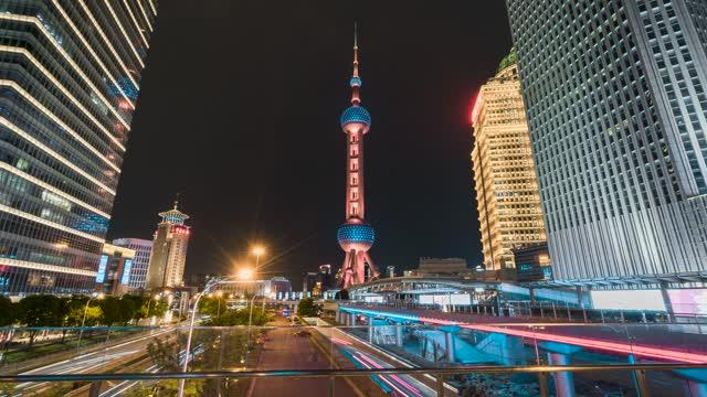 上海_东方明珠塔_夜景_大范围延时