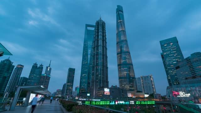 上海_上海CBD_世纪天桥_日转夜_大范围延时