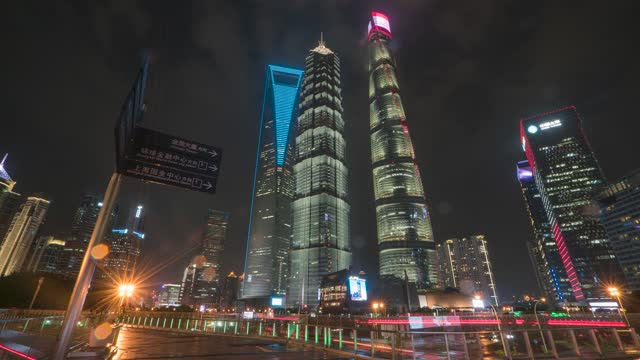上海_上海地标指示牌_上海CBD_世纪天桥