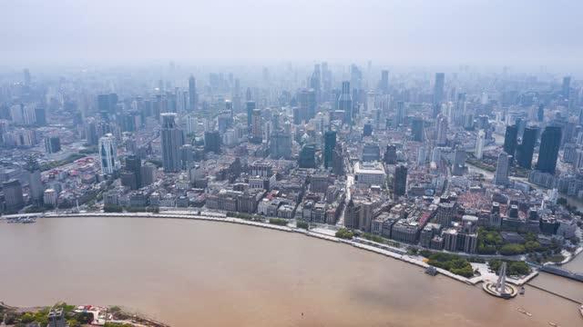 上海外滩_城市风景_后移延时航拍