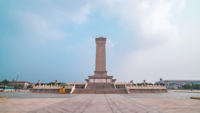 北京_人民英雄纪念碑_正面天空流云