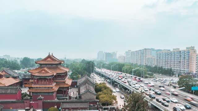 北京_雍和宫_宫殿_车流