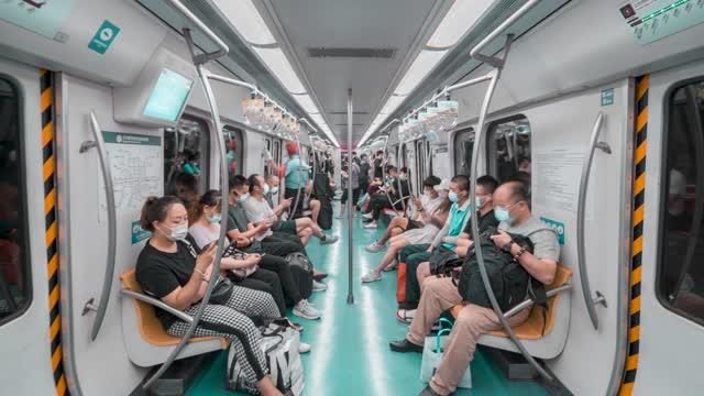 北京_北京地铁站内_地铁车厢内_地铁延时