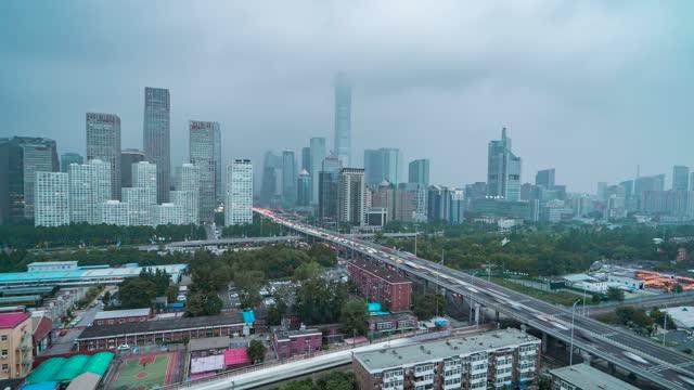 北京_北京CBD_东三环中路_京哈线_日转夜延时