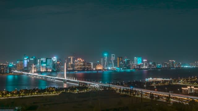 杭州_杭州CBD_钱江三桥夜景_中景