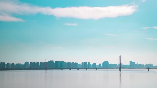 杭州_钱江三桥_杭州沿江城市剪影