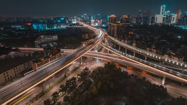 杭州_秋石高架桥_秋涛路_车流夜景