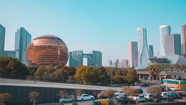 杭州_杭州国际会议中心_杭州洲际酒店_平移_大范围延时