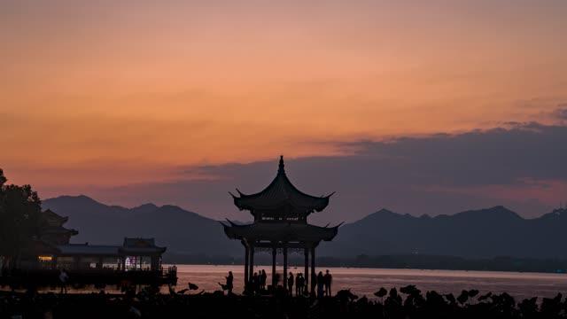 杭州_集贤亭_西湖湖畔_剪影_日转夜