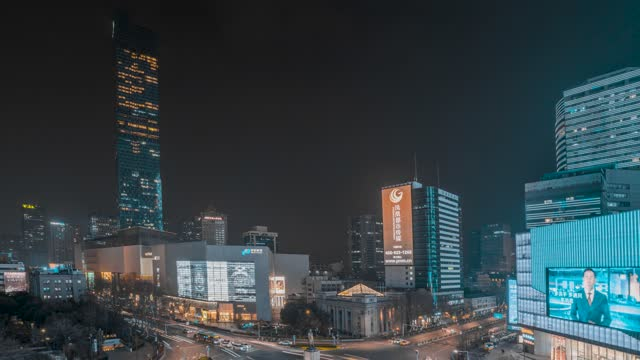 南京_新街口_德基广场_夜景延时