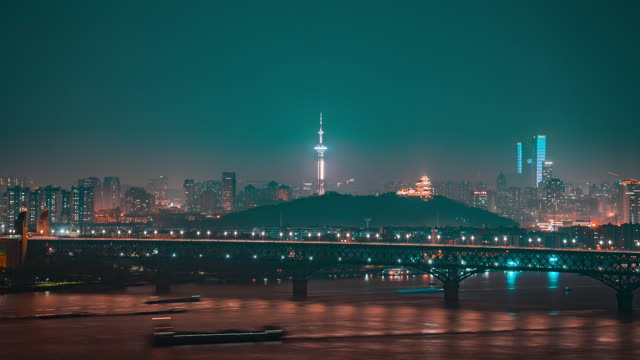 南京_南京长江大桥_江苏电视塔_夜景延时