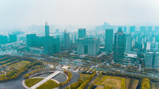南京_河西新城_河西CBD_日景航拍延时_环绕