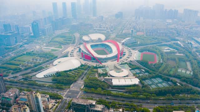 南京_南京奥林匹克中心_日景_环绕航拍延时
