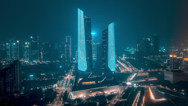 南京_南京国际青年文化中心_夜景_环绕航拍延时