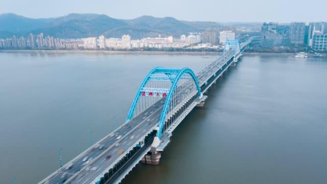 杭州_复兴大桥_日景_环绕航拍延时