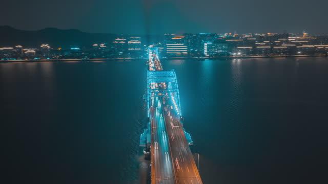 杭州_复兴大桥_夜景_环绕航拍延时