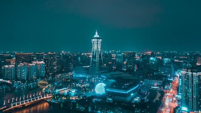 杭州_西湖文化中心_夜景_环绕航拍延时