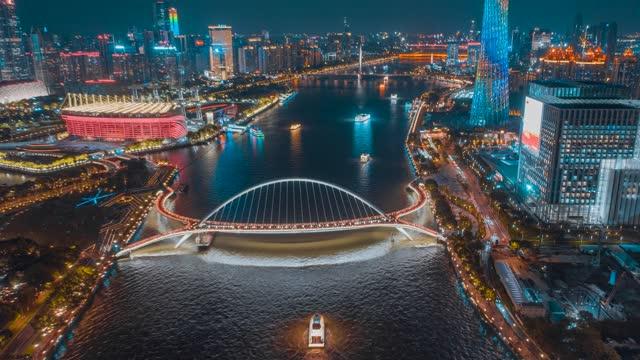 广州_海心桥_夜景航拍延时_平移